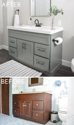 A full tutorial for a DIY bathroom vanity makeover to update your bathroom. Update your bathroom with this full tutorial for a DIY vanity makeover. Create your dream modern farmhouse bathroom with this budget friendly makeover! Bathroom Vanity Makeover, Bathroom Makeover, Diy Bathroom Makeover, Diy Bathroom Remodel, Bathroom Renovations, Diy Bathroom Vanity Makeover, Diy Vanity, Bathrooms Remodel, Bathroom Design