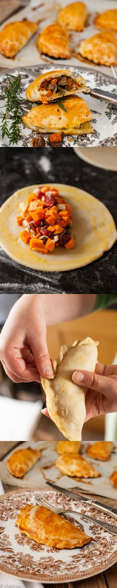 Cornish Pasty-savoury hand pies filled with diced steak, butternut squash and sweet potato. #british