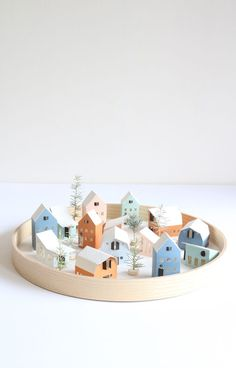 HEIM - tiny houses | set of 12 pre-fab paper houses € - super easy to build (all is pre-cut and pre-folded). Buy 2 sets and make an advent village using the house number stickers provided!