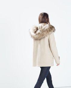 Image 2 of WOOL DUFFLE COAT WITH FUR HOOD from Zara