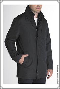 Veste parka élégante imperméable, collection grande taille masculine ajustée pour personne forte.