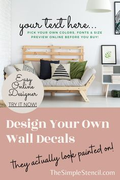 Design your own wall decals using your very own words & add sentiments to your home decor your friends & family will love. Pick a font and size to fit your spaces perfectly & over 70 beautiful matte colors to match your decor perfectly. Easy to install & removable when you're ready for a change. Highest quality materials, made in USA, since 2002. SATISFACTION 100% GUARANTEED. Free practice word of your choice included with order. #customwalldecals #wallquotes #wallart #decals #homedecor Kitchen Wall Quotes, Vinyl Wall Quotes, Custom Wall Decals, Custom Vinyl, Vinyl Decals, Wall Transfers, Family Room Walls, Monogram Wall, Letter Wall