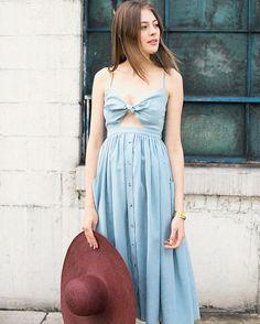 Slate tie bust tie front dress by Mara Hoffman, oversized Panama hat in oxblood by Yestadt