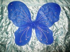 Royal Blue Butterfly Fairy Angel  Wings, Elastic Arm Straps Glitter & Feathers