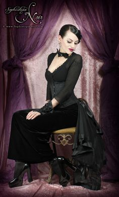 Love the velvet skirt, shirt and corset, don't love the bow accessories...