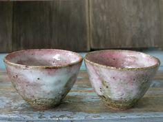 Pink Bowl, Japanese Ceramics Tea Bowls, Wabi Sabi, Ceramics Tea Cups, Matcha Chawan, Handmade Pottery, Cherry Blossom, Shino Glaze.