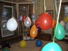 As an alternative to a pinata,  fill balloons with goodies for the kids and hang for a lot of fun.  Each kid picked a balloon in turn and popped it and bagged the treats in their goody bag.  The kids at my daughter's party loved this!  No fighting for the loot and lots of fun.