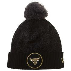 Chicago Bulls Black and Gold Medallion Logo Cuff Pom Knit Hat 64a451c45a35