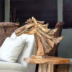 "Handcrafted from driftwood teak. Size (Approx.) : 32""H - Stand"