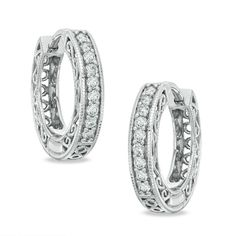 1/4 CT. T.W. Diamond Vintage-Style Huggie Hoop Earrings in 10K White Gold - Clearance - Zales