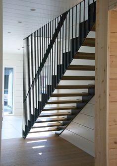 Honka Markki - Step into an urban log home - Honka Honka Markki – Step into an urban log home – Honka Staircase Railings, Staircase Design, Stairways, Modern Balcony, Modern Stairs, Interior Design Inspiration, Home Interior Design, Balcony Railing Design, Stair Decor