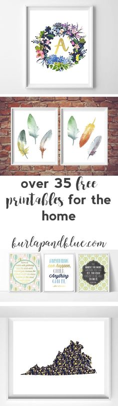 over 35 free printables for the home! lots of printable art/wall art for your living room bedroom nursery and kids room! The post over 35 free printables for the home! lots of printable art/wall art for your li appeared first on kinderzimmer. Art Diy, Diy Wall Art, Dyi Wall Decor, Art Decor, Free Printable Art, Free Printables, Printable Tags, Calander Printable, Free Printable Monogram