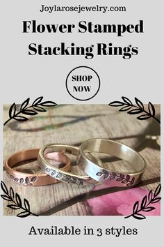 Hand stamped stacking rings in a variety of designs. Affordable and comfortable for the perfect gift for anyone. Visit Joylarosejewelry.com for more designs. #silverrings #uniquejewelry #handstampedrings #stackingrings Ankle Booties, Bootie Boots, Celebrity Shoes, Handcrafted Jewelry, Unique Jewelry, Anthropologie Shoes, Flower Stamp, Birkenstock Mayari, Stacking Rings