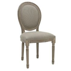 WOODEN DINING CHAIR W/BEIGE FABRIC 48X46X96 - Chairs - FURNITURE