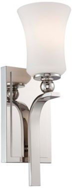 "Minka Lavery Ameswood Nickel with Opal Glass Wall Sconce - #EUT4568 - Euro Style Lighting   100 watts, nickel, 14.5"" high"
