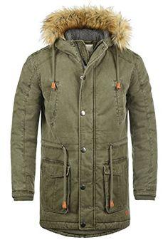 1a5dfaafb73e Redefined Rebel Mapee Herren Winter Jacke Parka Mantel Lange Winterjacke  gefüttert aus 100% Baumwolle mit Kunst-Fellkapuze, Größe L, Farbe Dark Olive