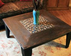 Square Coffee Table Glass & Stone Tile Mosaic Reclaimed by natureinspiredcrafts Wooden Pallet Coffee Table, Dark Wood Coffee Table, Square Glass Coffee Table, Coffee Tables, Cabin Furniture, Furniture Update, Living Furniture, Furniture Plans, Wood Sealer