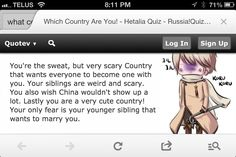 Did a hetalia quiz got Russia! I was aiming for Germany (he's my hetalia crush along with Japan and Canada) become one with mother Russia, da?