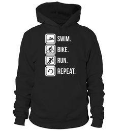 Triathlon   Swim Bike Run Repeat T Shirt