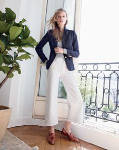 SEP '15 Style Guide: J.Crew women's Rhodes blazer in Comero, long-sleeve striped painter tee, Rayner wide-leg jean in white and Biella crackled leather loafers.