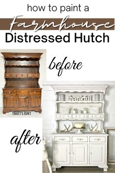 """Send me all the dark and outdated furniture and let me paint it shabby white! I'm in love with this transformation of my client's mother's Ethan Allen chinat hutch. She wanted a much lighter """"cottage vibe"""" and I'm in love with the final farmhouse finish. Click over to my blog at traceysfancy.com to get the steps on how to prep to paint white furniture. I'll walk you through the steps to getting this finish plus list out all the supplies and paints. #furnituremakeover #whitefurniture Do you… White Painted Furniture, Farmhouse Kitchen Decor, Diy Decor Projects, Painting Furniture Diy, Shabby White, Furniture Makeover, Diy Furniture Plans, Diy Furniture, Diy Home Decor"""
