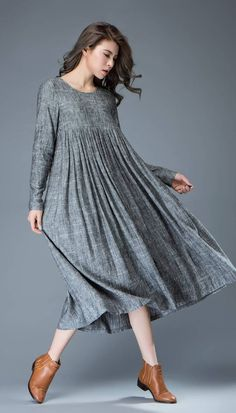 Casual Gray Dress - Comfortable Linen Loose-Fitting Long Sleeved Everday Marl Grey Midi-Length Woman's Dress Occasionnel robe gris lin confortable ample robe à Linen Dresses, Cotton Dresses, Women's Dresses, Casual Dresses, Fashion Dresses, Cotton Long Dress, Dress Outfits, Dress Plus Size, Oversized Dress