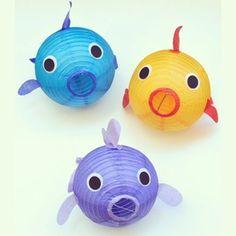 DIY paper lantern fish from @makelifelovely on the blog today! Link in bio. #swim #fish #lanterns #ocean #sea #partydecor