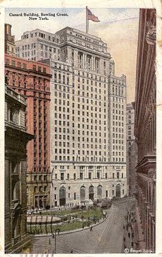 Vintage postcard. Cunard Building. Bowling Green, New York.
