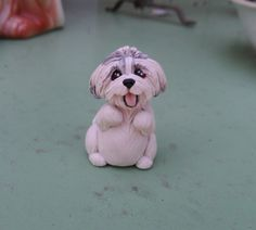 Shih Tzu Figurine Hand Sculpted polymer clay by Raquel at the WRC