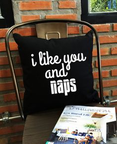 I Like You And Naps Throw Pillow cover Funny by Lessssismoreee