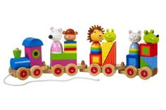 Animal Puzzle Train by Orange Tree. The **Orange Tree Animal Puzzle Train** will make a great first train for young children. It features a multi-functional design Toddler Toys, Baby Toys, Kids Toys, Toddler Stuff, Children's Toys, Baby Play, Yellow Animals, Colorful Animals, Wooden Toy Train