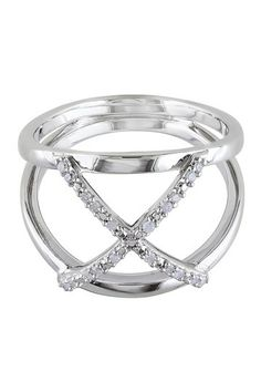 Sterling Silver White Diamond Ring - 0.10 ctw