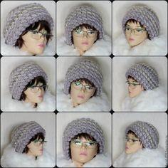 Купить Шапка вязаная женская теплая, шапка из мохера крючком - сиреневый, шапка вязаная