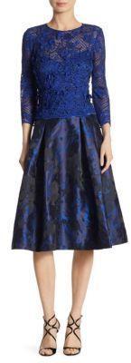 Teri Jon by Rickie Freeman Floral Appliqued Jacquard Dress