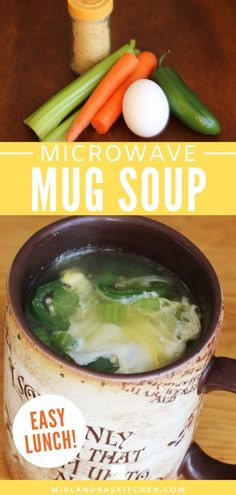 Healthy Mug Soup is a simple and delicious vegetable egg soup. Add this to your lunchbox routine – It is a snap to prep, pack and cook in any microwave. If you want to be able to eat fresh anytime this is the recipe for you! #healthy #mugrecipe #lunch #brownbag #eatfresh Mug Recipes, Drink Recipes, Crockpot Recipes, Easy Recipes, Dinner Recipes, Easy Meals, Healthy Recipes, Interesting Recipes, Amazing Recipes
