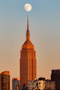 Moon Rising Over Empire State Building by Raymond Haddad Collage Mural, Photo Wall Collage, City Aesthetic, Travel Aesthetic, Photographie New York, City Vibe, Nyc Life, New York City Travel, Dream City