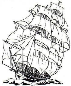 Free Ship Coloring Pages for Kids and Adults