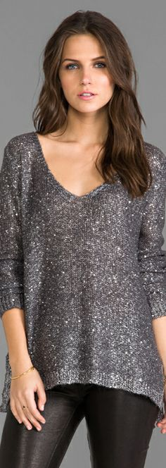 BB Dakota Myla Sequin Open Back Sweater in Grey