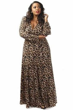 Plus Size Leopard Print Waist Tie Maxi Dress
