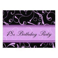Purple Swirl 18th Birthday Party Invitation Cards Invites