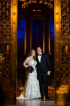 Bride & Groom at Gotham Hall  Photography: Images by Berit, Inc. Read More: http://www.insideweddings.com/weddings/gatsby-inspired-jewish-wedding-with-purple-gold-decor-in-new-york/720/