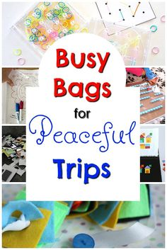 Awesome busy bags to being with you on trips and for travel! These quiet time activities are perfect for keeping in the car! Car Trip Activities, Activities For 6 Year Olds, Quiet Time Activities, Creative Activities For Kids, Kids Learning Activities, Preschool Activities, Car Activities For Toddlers, Baby Learning, Motor Activities