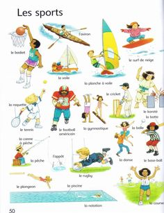 These are some of the sports in France. French Verbs, French Grammar, French Adjectives, French Teaching Resources, Teaching French, Learn To Speak French, French For Beginners, French Worksheets, French Kids