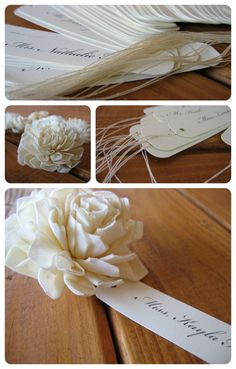 Cream wooden flower wedding place cards