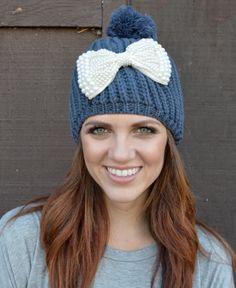 a3908e83a38 Cute beanie with pearl bow. Adorable! Knit Beanie