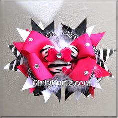 Zebra Minnie Mouse Inspired Boutique Hair Bow