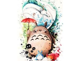 My neighbor Totoro and Spirited Away drawing by Louise Terrier