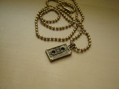 Retro cassette tape necklace