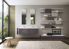 Stylish floating units offer ample storage space for all your bathroom essentials - Decoist Grey Bathroom Vanity, Bathroom Wall Decor, Bath Decor, Bathroom Flooring, Bathroom Cabinets, Bathroom Furniture, Washroom, Bathroom Vanities, Bathroom Design Inspiration