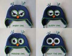 Variations of owl eyes.  Gonna make some of these hats.